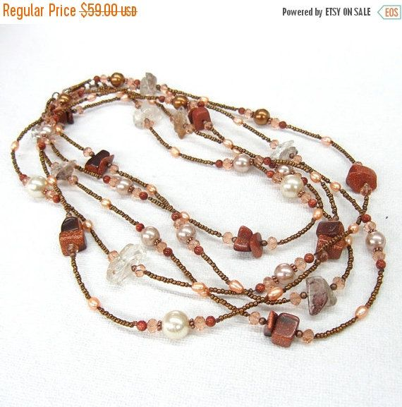 Your BEST GIFT Extra long wrap necklace Orange Peach Brown Copper multi strand statement necklace natural stone seed beads multi color stran