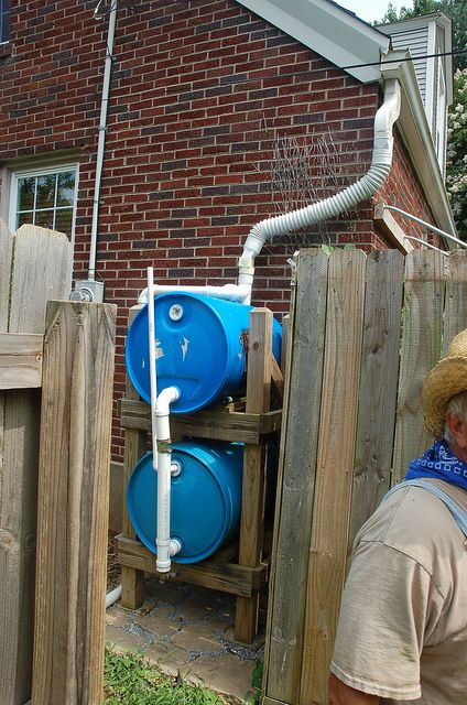Tandem Rain Barrel Setup Rain Barrels And Cisterns