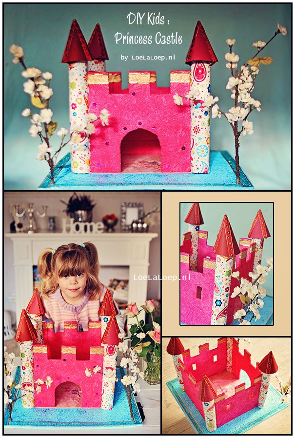 DIY Kids: Princess Castle from styrofoam, fabric, kitchen towel rolls and toilet paper rolls.