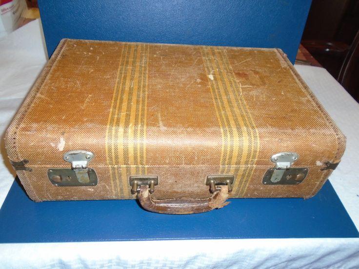 Vintage suitcase. Small suitcase. old suitcase. suitcase.  luggage. overnight bag. by Montyhallsshowcase on Etsy