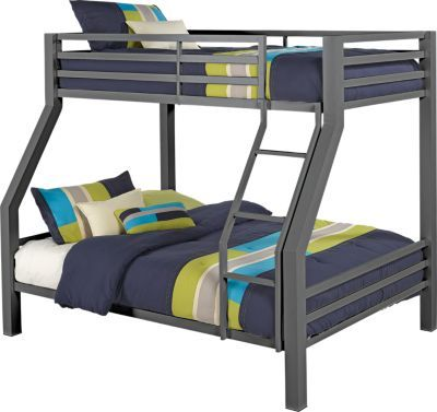 Xander Gray Twin Full Bunk Bed.377.0. 80.25L x 57.25W x 67.75H. Find affordable Beds for your home that will complement the rest of your furniture. #iSofa #roomstogo