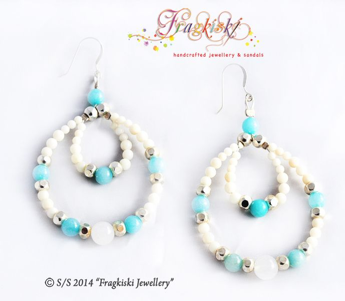 Beaded Earrings_Light Blue Drops from Fragkiski Jewellery & Sandals by DaWanda.com