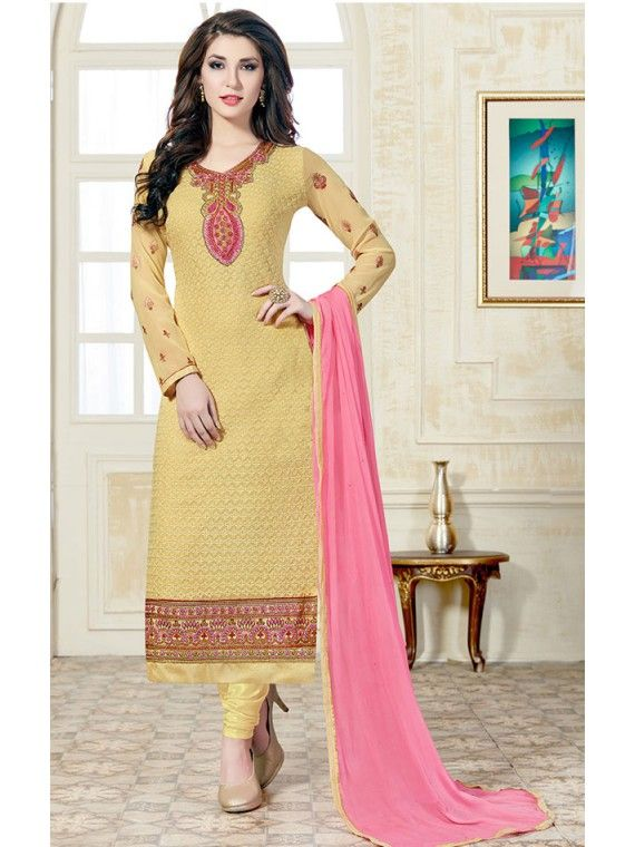 Intrinsic Honey Yellow Embroidered Salwar suit
