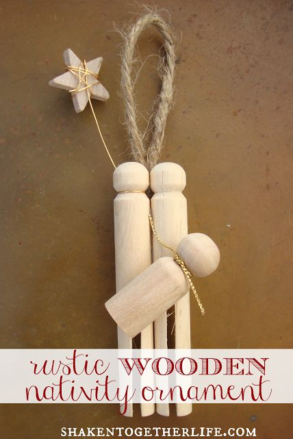 DIY rustic wooden nativity ornament // {create this} at shaken together