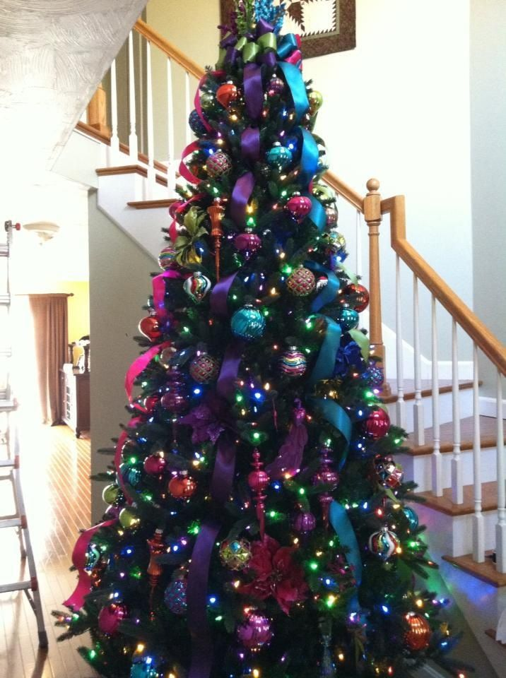 Superbe ... Colored Light Christmas Tree Decorating Ideas Home Trees With Lights U2026  Jewel Tone Christmas Tree