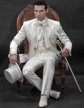 Nach Maß Gold Stickerei White Herren Anzüge Stehkragen Hochzeit Anzüge Für Männer Smoking Slim Fit One Button (jacke + pants)(China (Mainland))