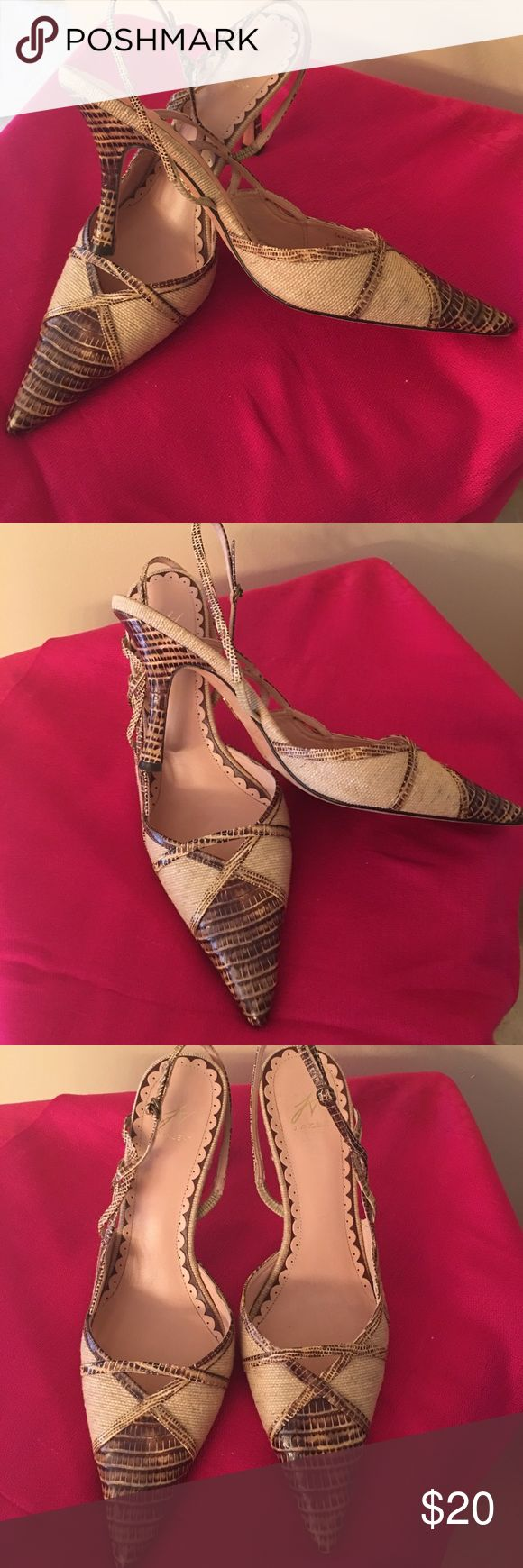 J Vincent cream/brown snake slingback pumps Very chic JVincent cream and brown snake slingback pumps.  Other than the very slight wear on the soles and very front tip facing the bottom, the shoes are in excellent used condition. See photos. Size 7.5 J VINCENT Shoes Heels