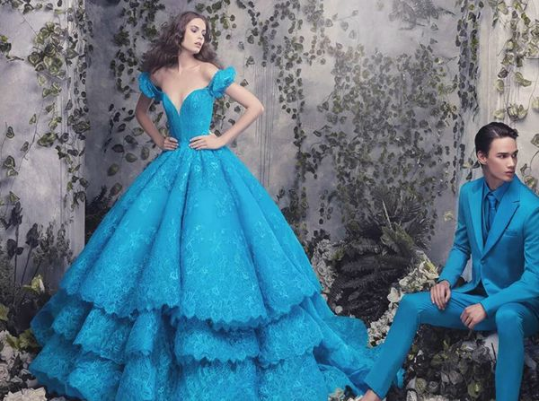 Michael Cinco, blue I don't love this dress but I love the colour and that hubby is dyed to match