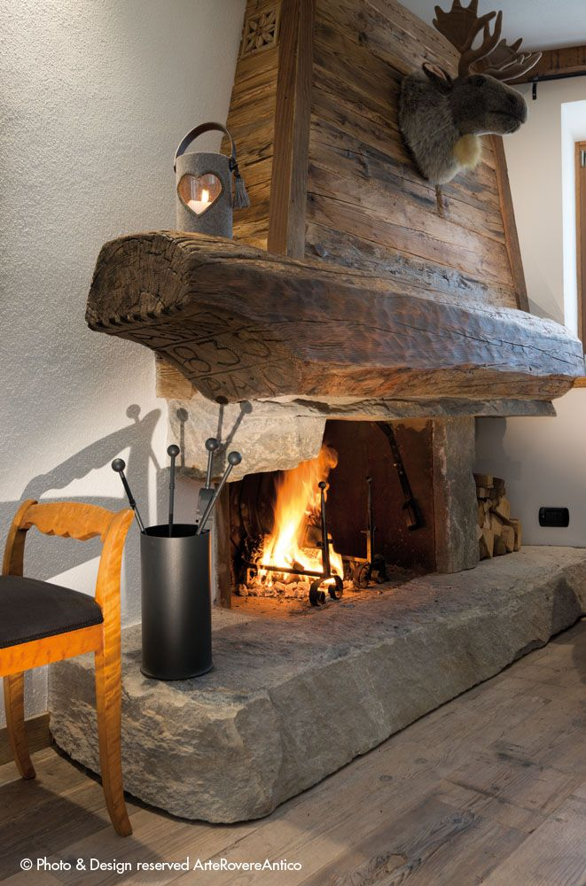 || Arte Rovere Antico - Photo by Duilio Beltramone for Sgsm.it || Casa Verde - La Thuile - Wood Interior Design - Fireplace