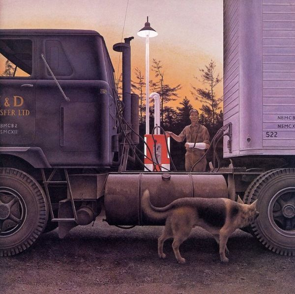 Alex Colville. His use of dogs to represent himself, his use of pointillage, and his precise framing are appealing. This is Truck Stop.