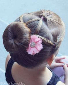 My girls love to have their hair up and pretty for dance. Here's a style that I did on little sis and I just love how it turned out!   How I did this: Make a square section …