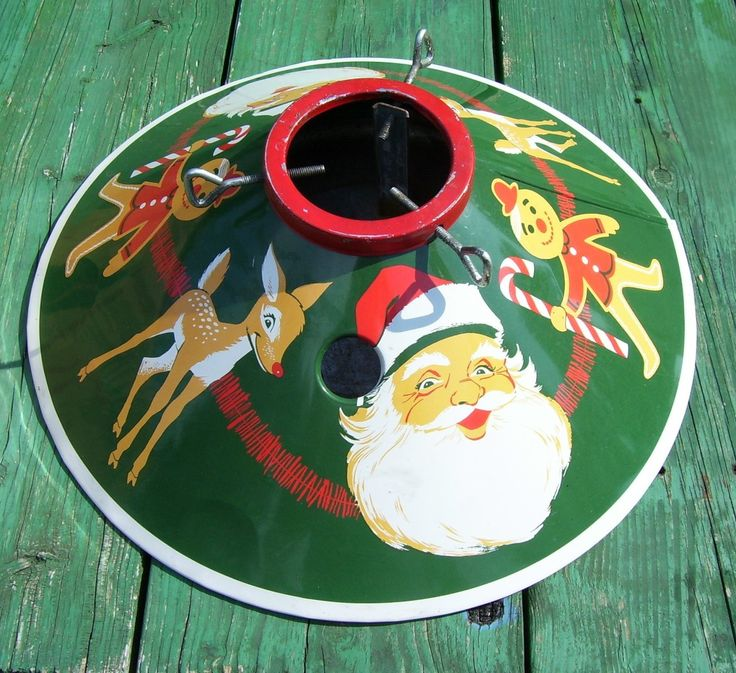 Vintage Christmas Tree Stand ~ Santa, Reindeer, Gingerbread Man ~ So cute~