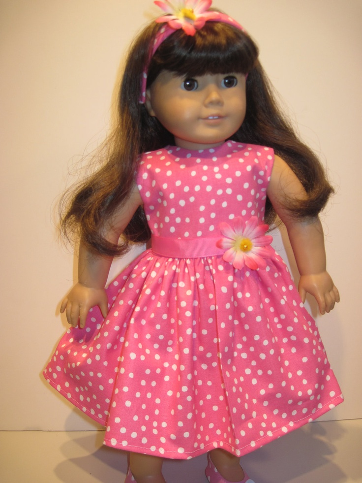American Girl Doll Clothes Hot Pink w Polka Dots Dress Spring And Summer Occasions With Matching Headband. $12.00, via Etsy.