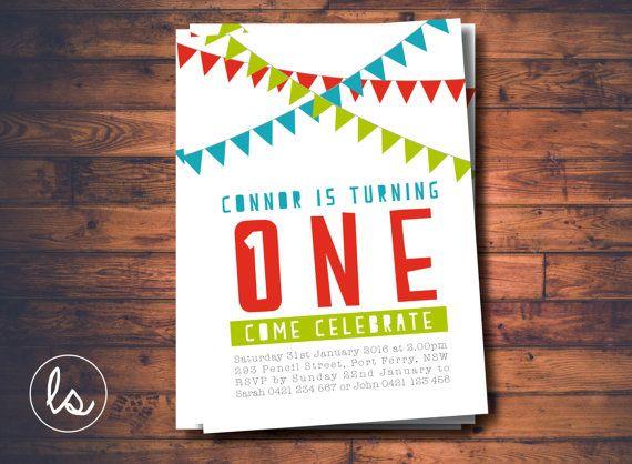 DIY PRINTABLE ~ Boy Birthday Invitation ~ Bunting Invitation ~ Birthday Invitation ~ Printed Invitations