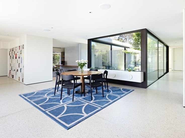 Ceiling speakers, credenza for access to formal glassware etc.  One table only for formal and everyday meals.  Grand Designs Australia - Series 2-Episode 1: Brighton Sixties | LifeStyle Channel