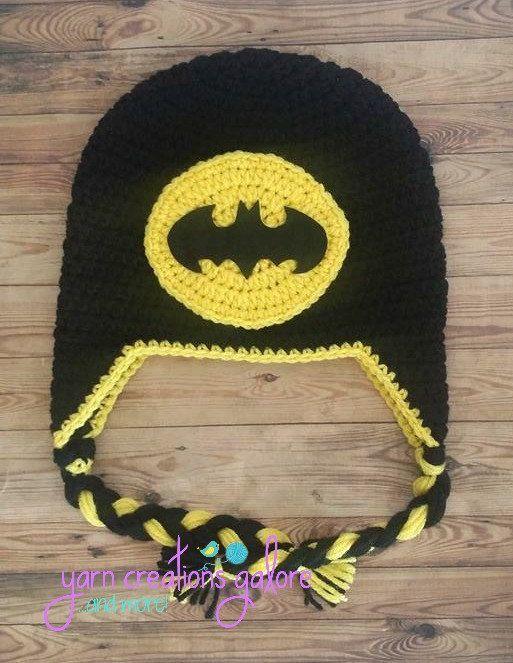 Crochet Batman Hat by YarnCreationsGalore on Etsy