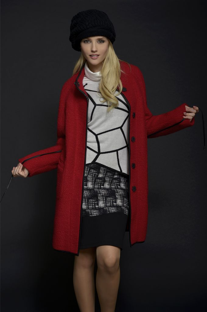 Sarah Lawrence - belted coat with stand up collar, asymmetrical cowl-neck sweater, printed pencil skirt with combination of solid fabric.