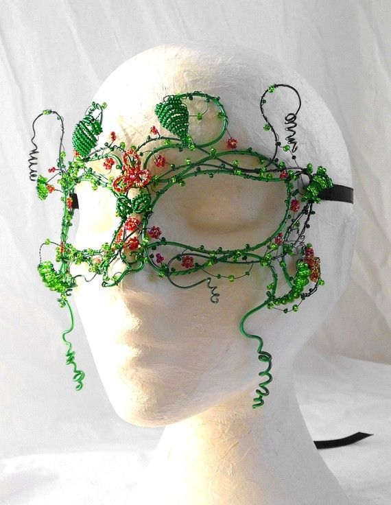 enamelled wire, beaded flowers and leaves.