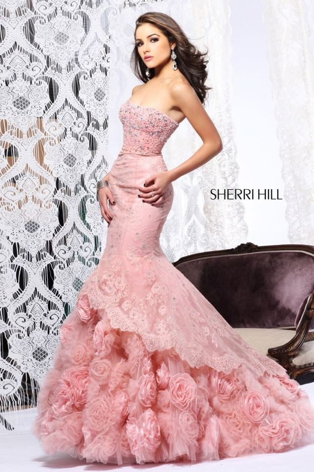 Pink and yellow mix sherri hill prom dresses
