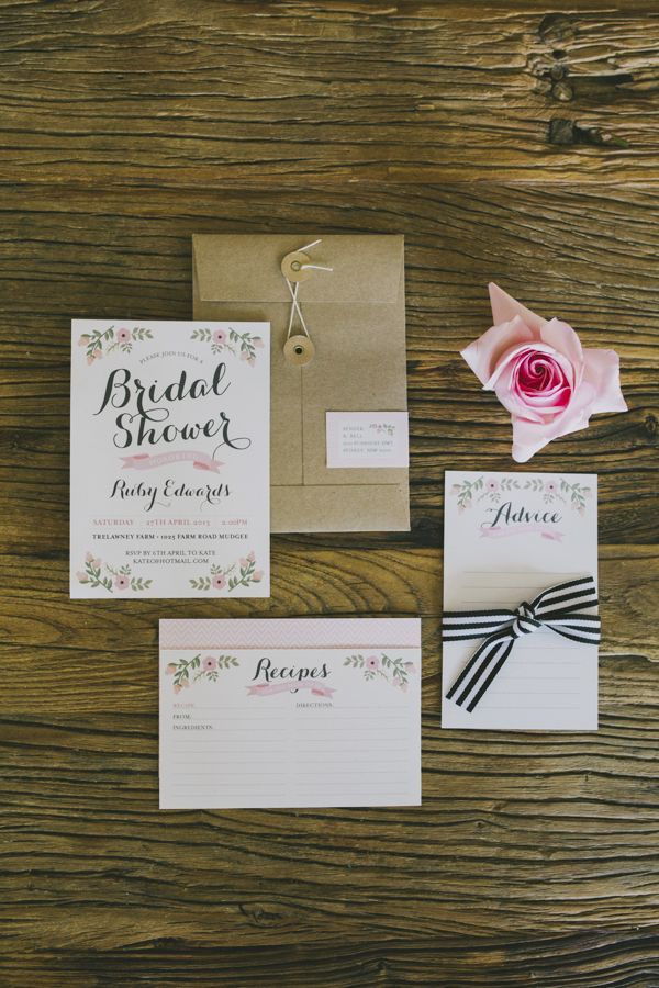 bridal shower invitations with recipe card attached%0A Bridal Shower Inspiration from Ashdown  u     Bee