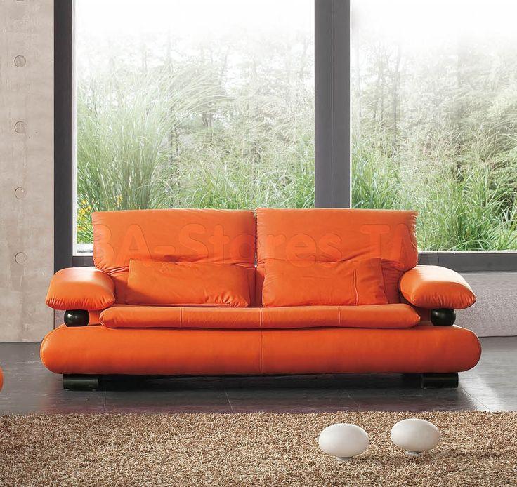 Elegant 410 Leather Sofa In Orange By ESF