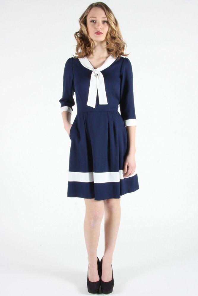 Thornbird Dress Navy by Birds of North America.  Nautically inspired dress.