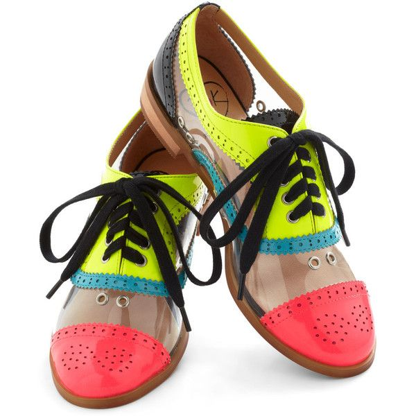 Bright Student Flat (106,975 KRW) ❤ liked on Polyvore featuring shoes, flats, oxford, low platform shoes, oxford flats, lace up flat shoes, lace up oxford flats and low heel shoes