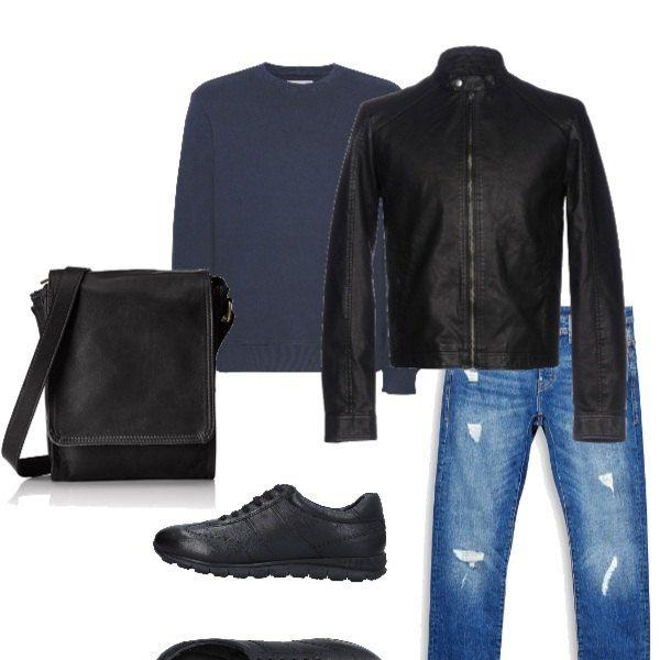 sports shoes 7809c b515c Jeans e felpa, comodo e sportivo. Giacca di pelle, scarpe ...