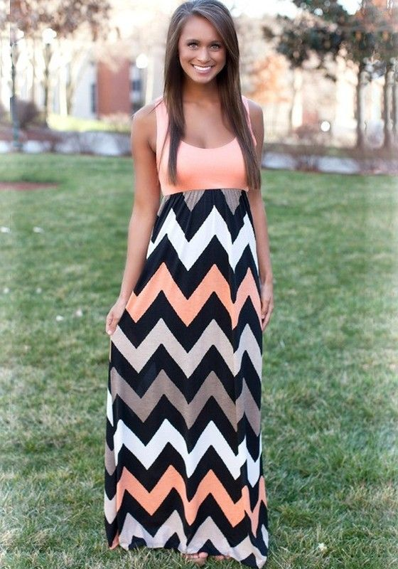 Orange Striped Shoulder-Strap U-neck Maxi Dress