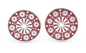 Chelsea Jewelry Basic Collections Red Scottish Targe Shield Cufflinks