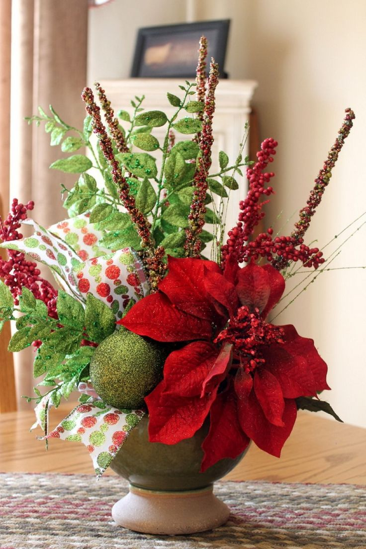 Decoration, Floral Poinsettia And Artificial Leafs For Lovely Christmas Centrepiece Plus Handmade Seasonal Table Cloth: Awesome Christmas Centerpiece Decors to Dress up Your Dining Tables