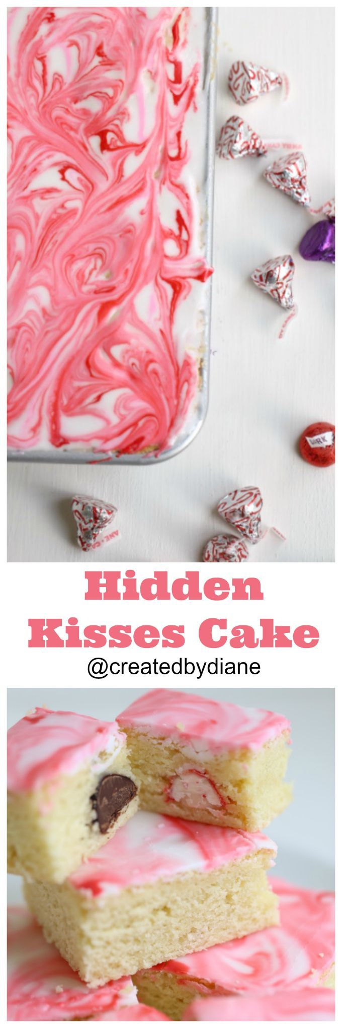 Hersheys kisses are hidden in this delicious cake, use any variety of Hersheys Kisses and make a masterpiece in no time. this is made with dark chocolate and peppermint kisses and there are so many options for it, wait until you see the inside, each bite is filled with a kiss @createdbydiane
