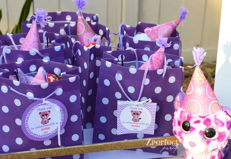 Purple party favors at a popstar birthday party! See more party planning ideas at CatchMyParty.com!