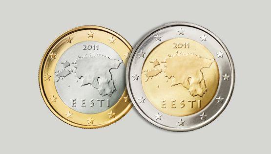 1 und 2 Euro-Münzen Estlands