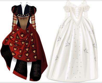 las vestimentas de la reina blanca y la reina roja no solo se podrsi decir que son opuesta por el color si no también por diseño, mientras la reina roja es un poco mas renacentista, la vestimenta de la reina blanca es mas cuento de hadas, su vestuario es tipo princesa