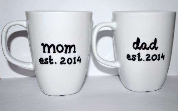 Mom Dad Coffee Mugs Set - Baby Shower Gift - New Mom And Dad Pregnancy Reveal Party Mugs - Parents To Be Gift