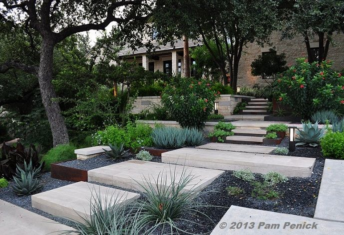 Modern garden steps | What a beautiful garden, with expertly crafted hardscaping set off ...