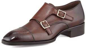 $1,620, Dark Brown Leather Double Monks: Tom Ford Gianni Double Monk Strap Loafer Brown. Sold by Neiman Marcus. Click for more info: http://lookastic.com/men/shop_items/32819/redirect