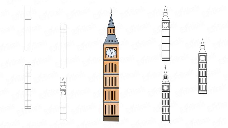 Jak krok po kroku rysować Big Ben