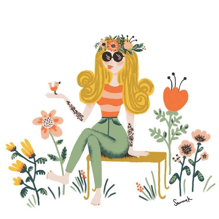 Happy hippie girl -  illustration. By Sanna Kivioja.