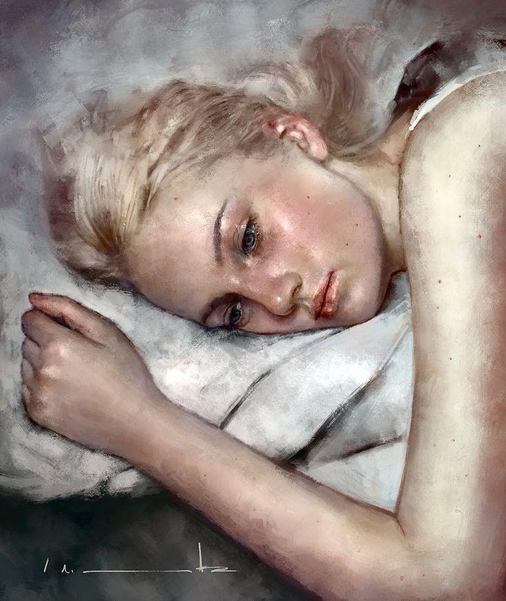 """Emily Ruhl"" - Isabella Morawetz {figurative realism art beautiful blonde female head shoulder arm reclining woman face portrait portrait digital painting #loveart} morawetzart.com"