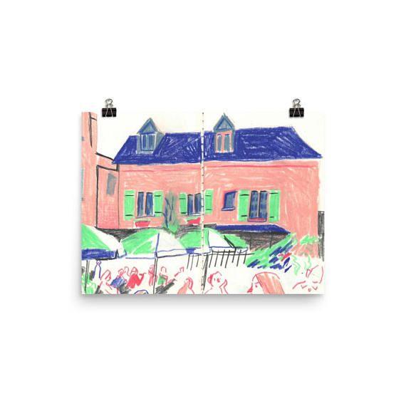 Paris France Colored Pencil Sketchbook Print