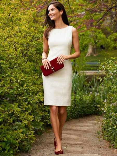 Talbots, classic Love the deep red accents with clutch and heels!