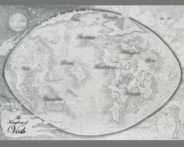 world map of Vosh, hand drawn, pencil.