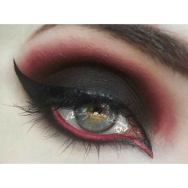 Black and Red Gothy Makeup Tutorial ❤ liked on Polyvore featuring beauty products, makeup, eye makeup and eyes