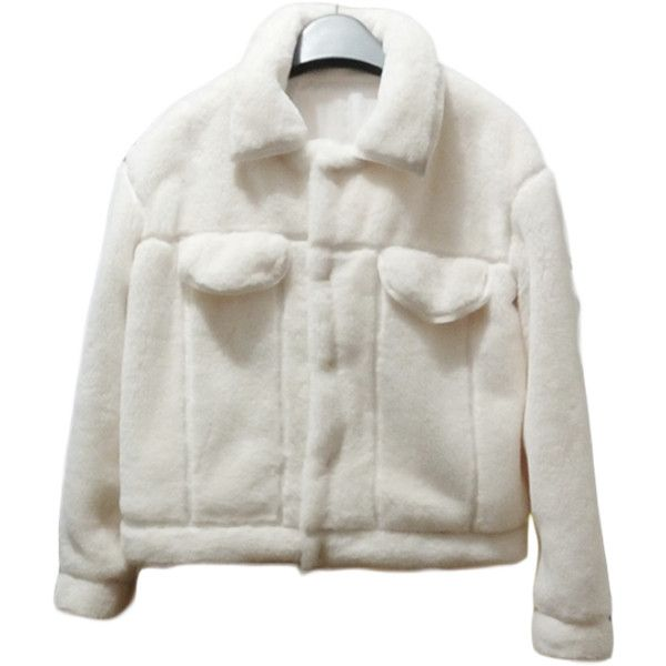 Soft Ivory Crop Jacket (4.230 RUB) ❤ liked on Polyvore featuring outerwear, jackets, clothing - outerwear, white winter jacket, cropped jacket and ivory jacket