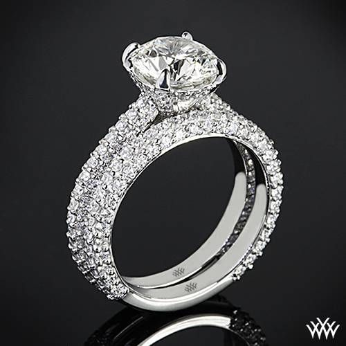 Channel Set Bridal Engagement Rings Demarco Jewelry Official Wedding Ring Sets Bride Groom -  White Gold Elena Rounded Pave Diamond Engagement Ring Weddi Western Wedding Set Love Dream