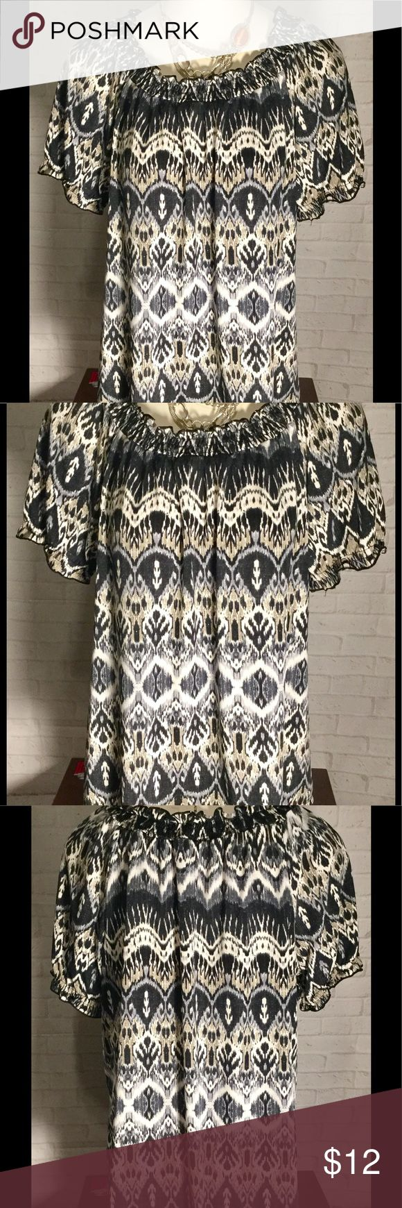 Notations women's large Aztec blouse excellent con This beautiful, stylish, comfy women's large Aztec blouse is in excellent condition, flawless and comes from a smoke free home.  Buy with confidence I am a top rated seller, mentor and fast shipper.  Don't forget to bundle and save.  Thank you. Notations Tops Blouses
