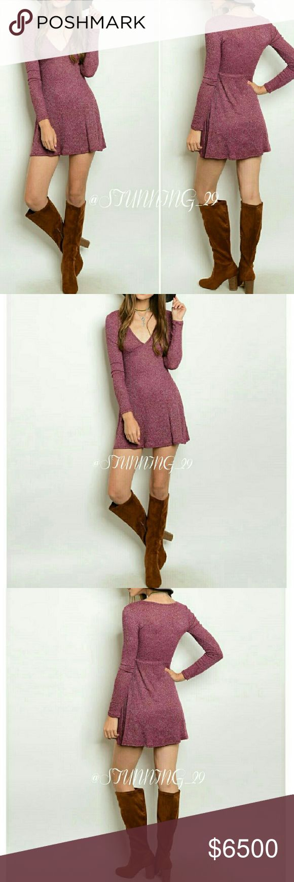 🆕**ARRIVING SOON **BURGUNDY RIBBED SWEATER DRESS **ARRIVING SOON * *✔CLICK LIKE NOW - ✔  PRICED HIGH FOR A SHIP DISCOUNT WHEN THESE ARRIVE ?.LONG SLEEVE W/ A PLUNGE NECKLINE , BURGUNDY MARBLED RIBBED DRESS. (74%RAYON/21%POLY/5% SPANDEX. MORE INFO & MEASUREMENTS WHEN THESE ARRIVE.   PRICE WON'T BE OVER  $35. BUNDLE 3 ITEMS GET 25 % OFF🌟🌟 Stunning_29  Dresses Mini