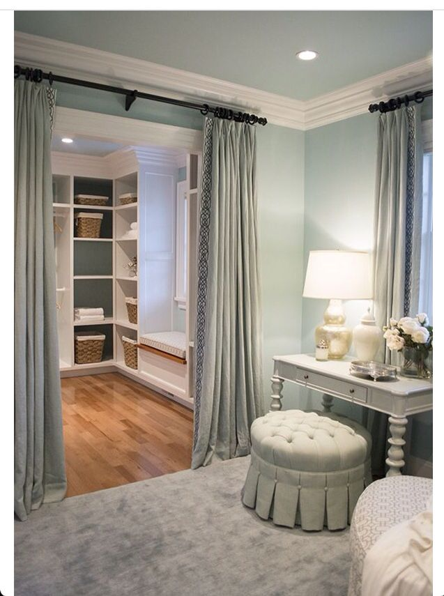 I Like The Idea Of Putting Drapes On The Walk In Closet In The Master  Bathroom. Make Them Match The Drapes In The Bedroom, And Tone In With The  Wall Colour.